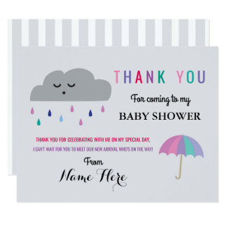 Thank You Cards Cloud Baby Shower Sprinkle Girl