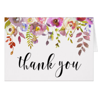 Thank You Cards Floral Bouquet Watercolor