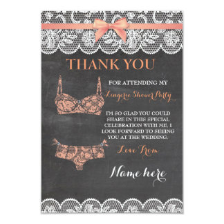 Thank You Cards Lingerie Shower Bridal Party Lace