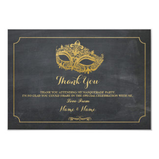 Thank You Cards Masquerade Mask Party Gold