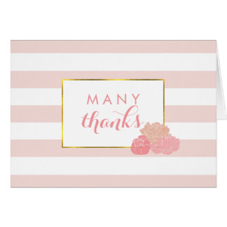 Thank You Cards | Pink Stripe & Blush Peony