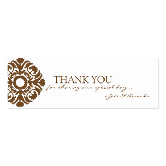 Thank You Cards   THANK YOU-whitebrown Pack Of Skinny Business Cards