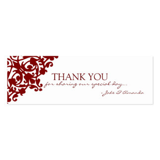 Thank You Cards   THANK YOU-whiteburgundy Pack Of Skinny Business Cards