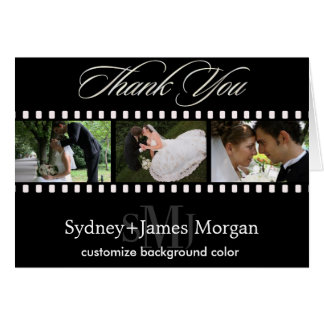 Thank You Cards, wedding photos+monogram Note Card