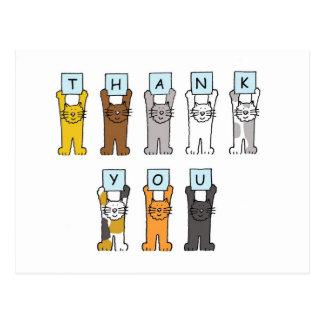 Thank You cartoon cats . Postcard