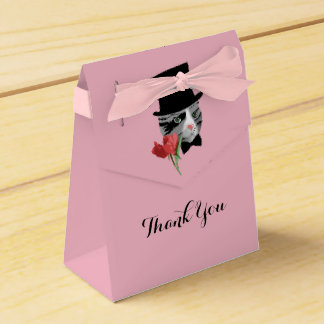 Thank You Cat with Flower Favour Box