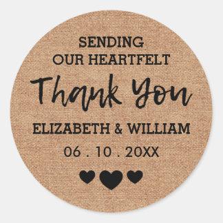 Thank You Chic Burlap Sticker | Heart-Felt Wedding