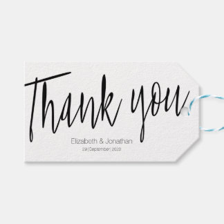 """""""Thank you"""" Chic Calligraphy Wedding Favor Tag"""