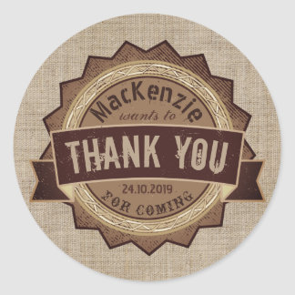 Thank You Chocolate Brown Grunge Badge Burlap Logo Classic Round Sticker