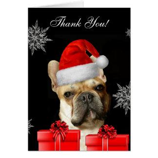 Thank You Christmas French Bulldog notecard