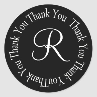 "Thank You Circle Letter ""R"" Classic Round Sticker"