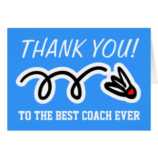 Thank you coach | badminton greeting cards