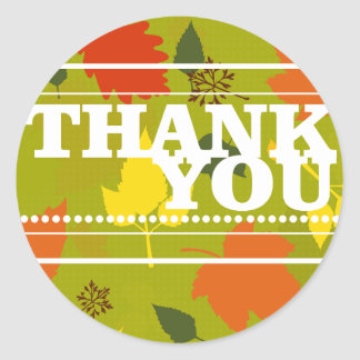 Thank You Colored Leaves Sticker Seal