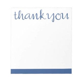 Thank You Cursive blue Notepad