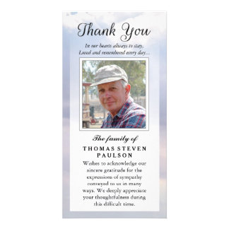 Thank You Custom Photo Sympathy - Peaceful Sky Customized Photo Card
