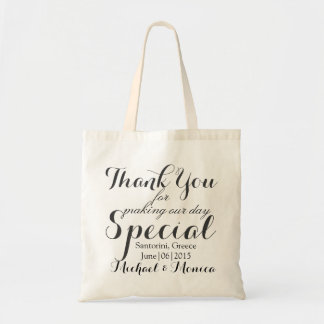 Thank You Custom Wedding Hotel Favors Budget Tote Bag