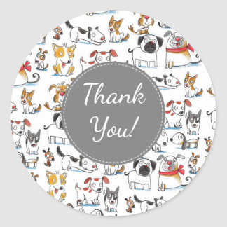 thank you cute cartoon doodle dogs pattern classic round sticker