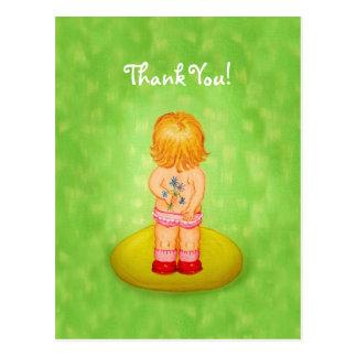 Thank You Cute Little Girl Bouquet of Flowers Postcard