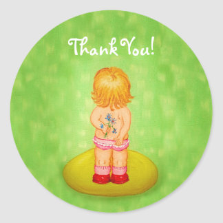 Thank You Cute Little Girl Bouquet of Flowers Round Sticker