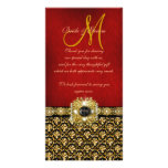 """""""Thank you"""" damask black red gold Photo Card Template"""
