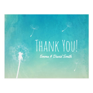 Thank You | Dandelion Blowing Elegant Watercolor Postcard