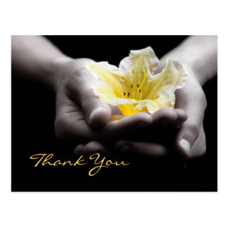Thank You Delicate Yellow Flower In Hands Postcard