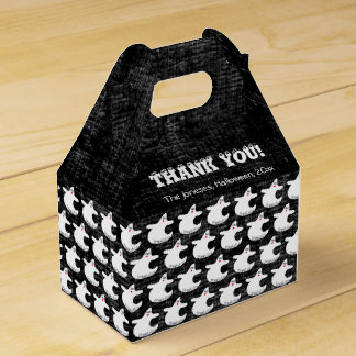 Thank You:  Diva Ghost Pattern on Textured Black Favour Box