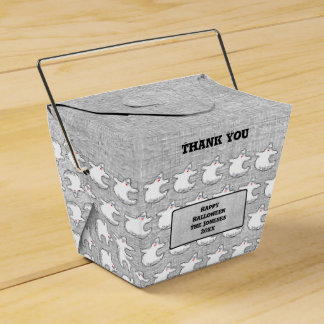 Thank You:  Diva Ghost Pattern on Textured Gray Favour Box