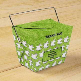 Thank You:  Diva Ghost Pattern on Textured Green Favour Box
