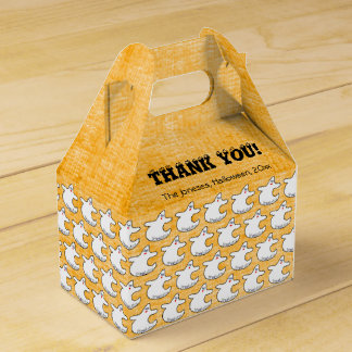 Thank You:  Diva Ghost Pattern on Textured Orange Favour Box