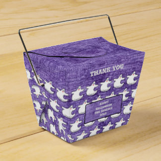 Thank You:  Diva Ghost Pattern on Textured Purple Favour Box