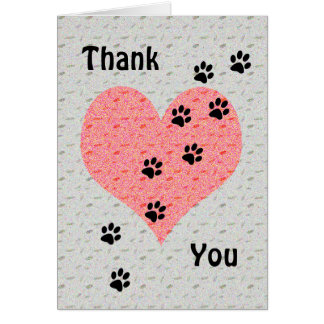 Thank You Dog Walker Heart with Paw Prints Card