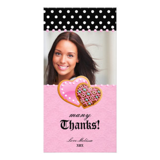 Thank You Dots Lace Heart Cookies Sweet 16 Photo Card Template