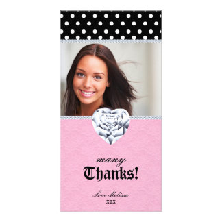 Thank You Dots Lace Heart Diamonds Sweet 16 Customized Photo Card