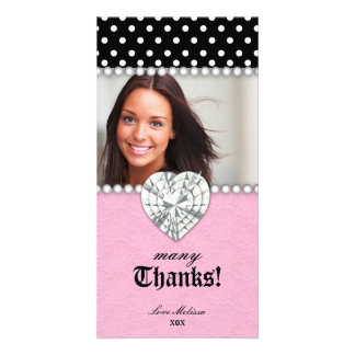 Thank You Dots Lace Pearls Jewel Sweet 16 Photo Card