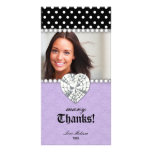 Thank You Dots Lace Pearls Jewel Sweet 16 Purple Personalized Photo Card