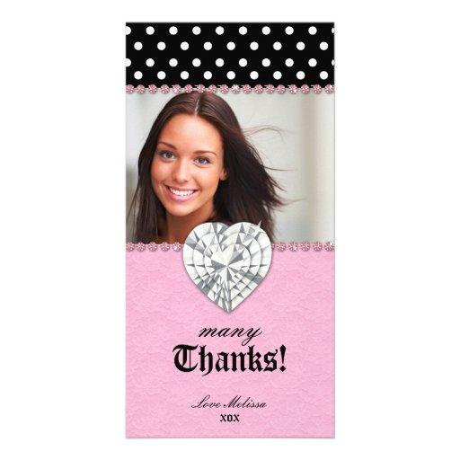 Thank You Dots Lace Pink Jewel Sweet 16 Photo Card