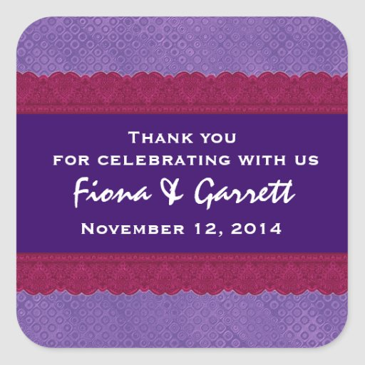 Thank You Double Lace Wedding Sticker