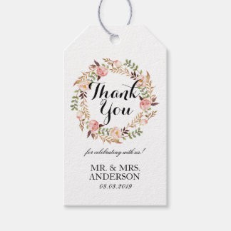 """Thank You"" Elegant Floral Wreath Wedding Favor Gift Tags"