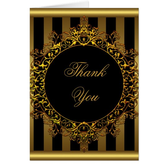 Thank You Elegant Gold Black Stripe Card