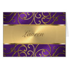 Thank You Elegant Purple and Gold Filigree Card