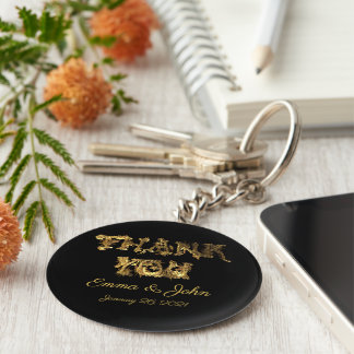 Thank You Elegant Thanks Black and Gold Typography Key Ring