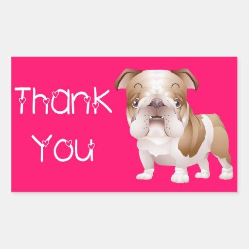 Thank You English Bulldog  Puppy Dog Pink Stickers
