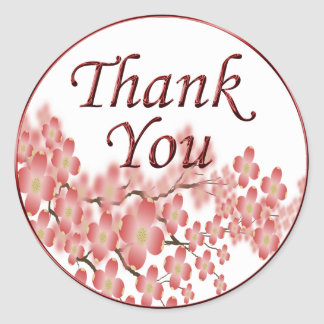 Thank You Envelope Seal Dogwood Design Round Sticker