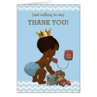 Thank You Ethnic Prince on Phone Baby Shower Card