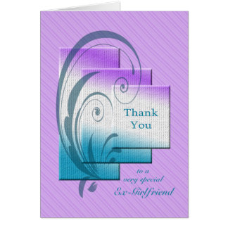 Thank you ex-girlfriend, with elegant rectangles card