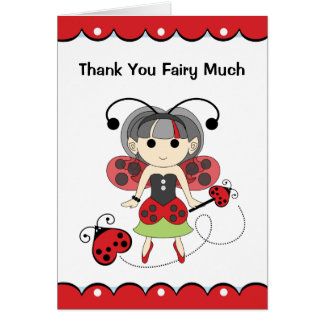 Thank You Fairy Much Cute Red Ladybug Fairy Card