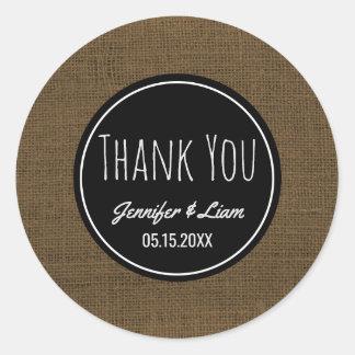 Thank You Faux Burlap   Rustic Wedding Favor Classic Round Sticker