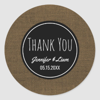 Thank You Faux Burlap | Rustic Wedding Favor Round Sticker
