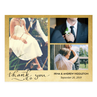 Thank You | Faux Gold Foil | Three Wedding Photos Postcard